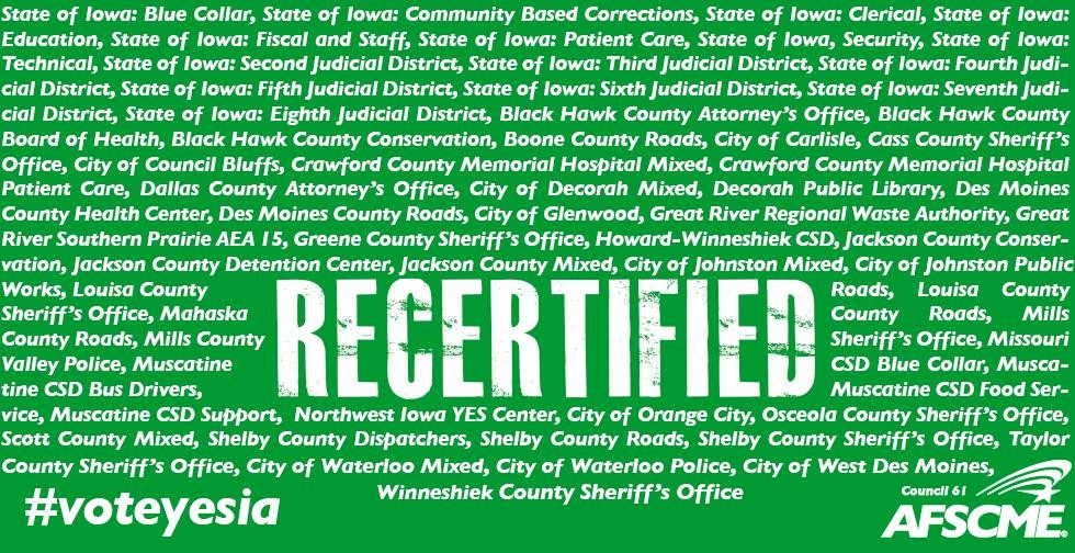 Iowa Workers Vote for Recertification – Again